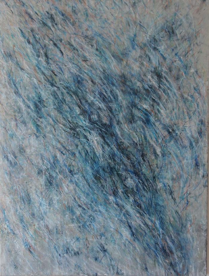 Gris bleu 2017, acrylic, pastel, charcoal, on Japanese paper, mounted on canvas, 60 x 120 cm.